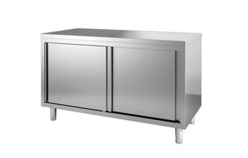 RVS werktafel met schuifdeuren - 600 mm diep