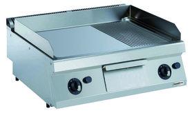 Gas bakplaat verchroomd glad/geribd - 700 pro kooklijn