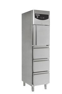 RVS koelkast met één deur en drie laden