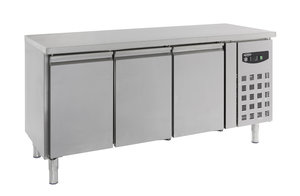RVS koelwerkbank met drie deuren