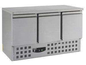 RVS koelwerkbank met 3 deuren