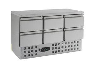 RVS koelwerkbank met 6 laden