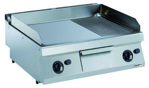 Gas bakplaat - glad/geribd - 700 pro kooklijn