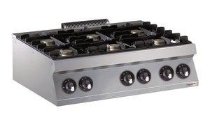 Gas kooktafel 6 branders - 700 pro kooklijn