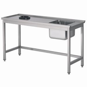 Aanvoertafel met open onderschap en afvalgat - 1200 mm - tafel links van de machine