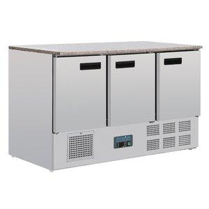 Polar gekoelde werkbank met marmeren werkblad 368 liter