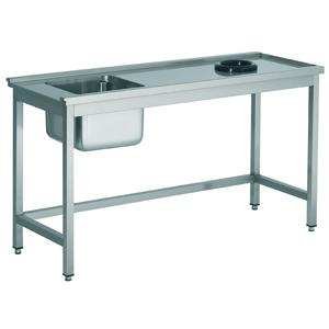 Aanvoertafel met open onderschap en afvalgat - 1000 mm - tafel rechts van de machine