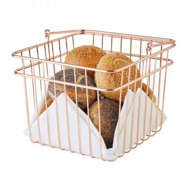Brood- en/of fruitmand RVS met koper-look, 24x24x21 cm