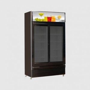 Glasdeur koelkast zwart - 780 liter schuifdeuren